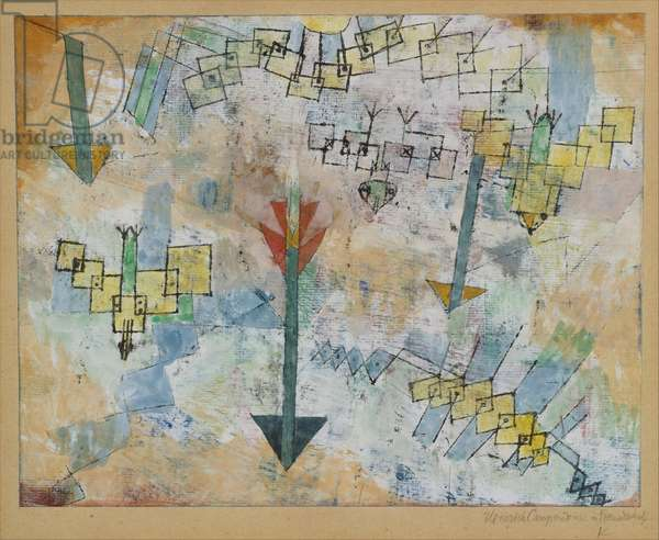 Birds Swooping Down and Arrows, 1919 (w/c and ink on gesso mounted on cardboard)