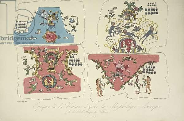 Epochs of Nature, after the Aztec Mythology, from the Vatican Library, illustration from 'Vues des Cordillères et Monumens des Peuples Indigènes de l'Amérique' by Alexander von Humboldt and Aime Bonpland, 1813 (hand-coloured engraving)