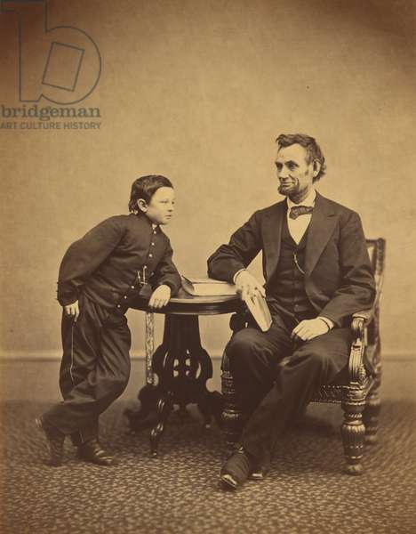 Abraham Lincoln and his son Thomas (Tad), 1865 (b/w photo)