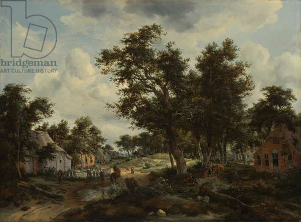 A Wooded Landscape with Travellers on a Path through a Hamlet, c.1665 (oil on canvas)