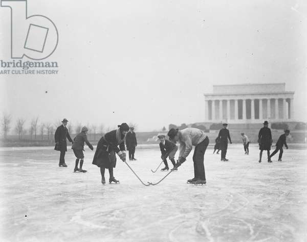Recreational Hockey and Ice Skating with Lincoln Memorial in Background, Washington DC, USA, c.1923 (b/w photo)