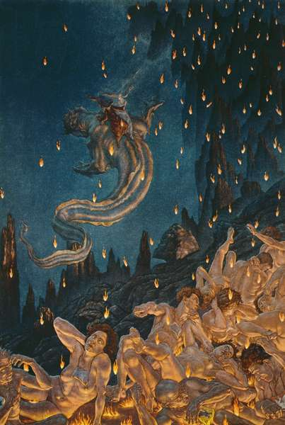 Dante and Virgil leave the seventh circle of hell on the back of a winged monster, from Canto XVII of 'Inferno' from 'The Divine Comedy' by Dante Alighieri, 1923 (colour litho)
