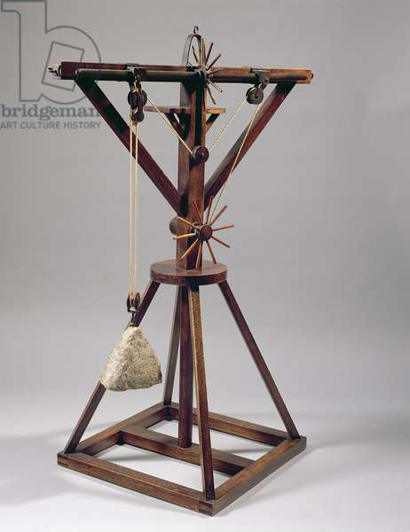 Reconstruction of da Vinci's design for a slewing crane (wood, metal, rope and stone)