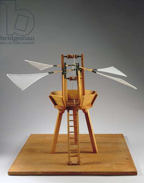 Model reconstruction of da Vinci's design for a vertical ornithopter (wood, cloth & string)