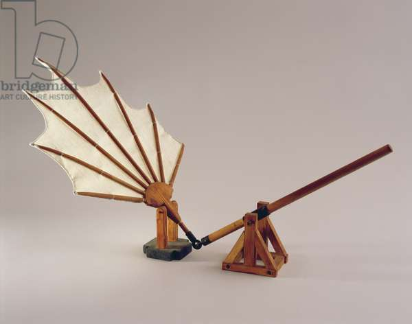 Model reconstruction of da Vinci's design for a beating wing (wood and cloth)