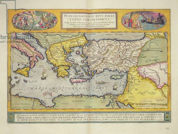 'Peregrinationis Divi Pauli Typus Corographicus' page from the 'Atlas Major', 1662 (coloured engraving)