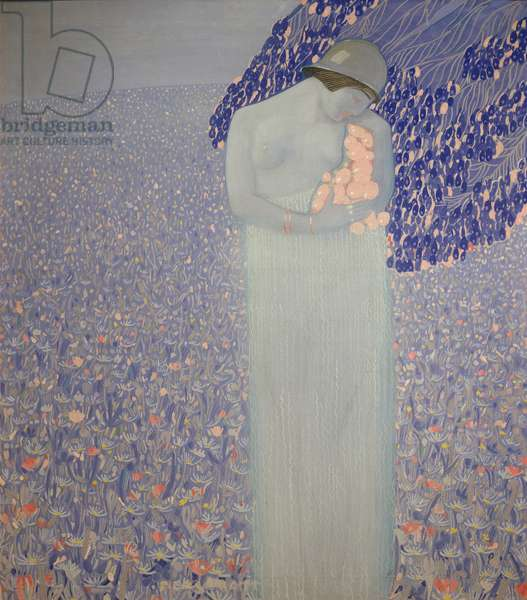 With the sky she conceives a baby girl, 1917 (tempera on canvas)