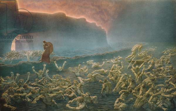 Dante and Virgil meet the wrathful and the sullen in the River Styx, from Canto VIII of 'Inferno' from 'The Divine Comedy' by Dante Alighieri, 1923 (colour litho)
