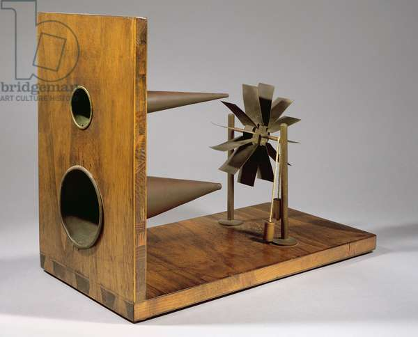 Reconstruction of da Vinci's design for a speed gauge for wind or water (wood & metal)