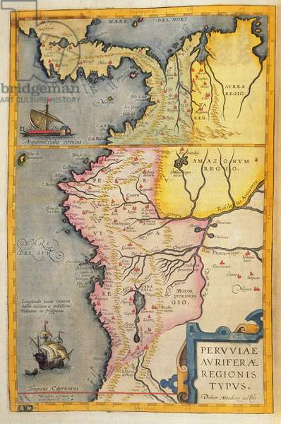 Map of the gold-bearing regions in Peru, from the 'Atlas Maior, Sive Cosmographia Blaviana', 1662 (coloured engraving)