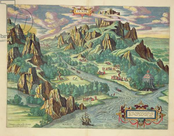 View of antique Thessaly from the 'Atlas Major', 1662 (coloured engraving)