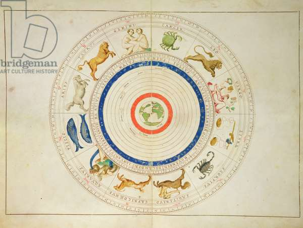 Zodiac Calendar, from an Atlas of the World in 33 Maps, Venice, 1st September 1553 (ink on vellum)