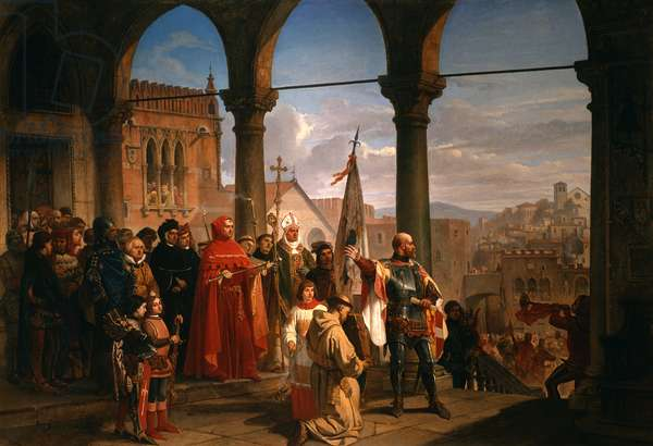 The Dedication of Trieste to Austria (oil on canvas)