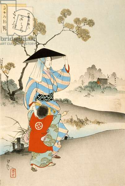 Woman and child (colour woodblock print)