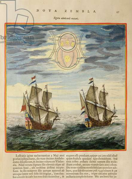 The sun and the stars guiding the sailors on their way, from the 'Atlas Maior, Sive Cosmographia Blaviana', 1662 (coloured engraving)