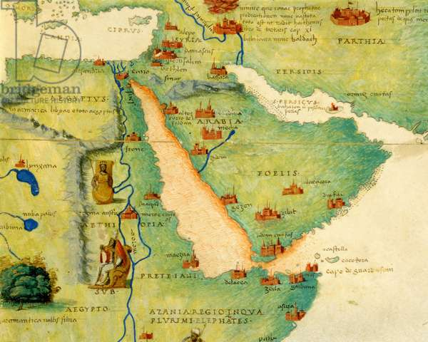 Ethiopia, the Red Sea and Saudi Arabia, from an Atlas of the World in 33 Maps, Venice, 1st September 1553 (ink on vellum) (detail from 330946)