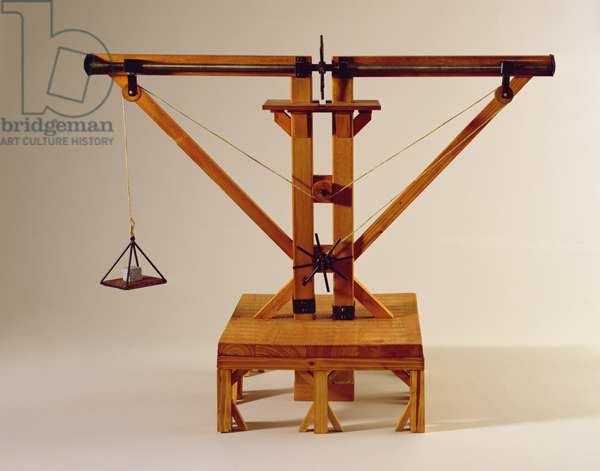 Model reconstruction of da Vinci's design for a double-winch crane (wood, metal & string)