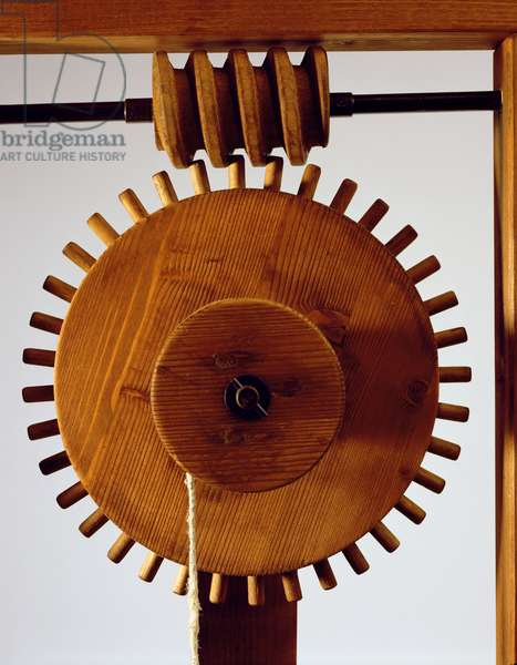 Model reconstruction of da Vinci's design for a helicoid mechanism (wood, metal & string)
