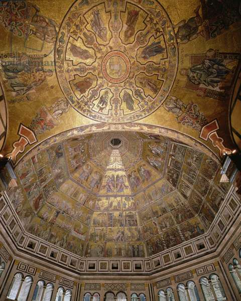 View of the cupola with mosaics, Baptistery, Florence, Italy (photo)