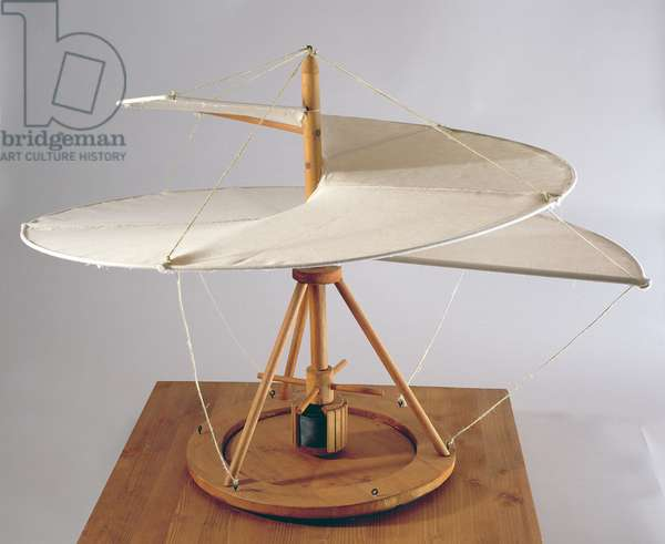 Model reconstruction of da Vinci's design for an aerial screw (wood, cloth and string)