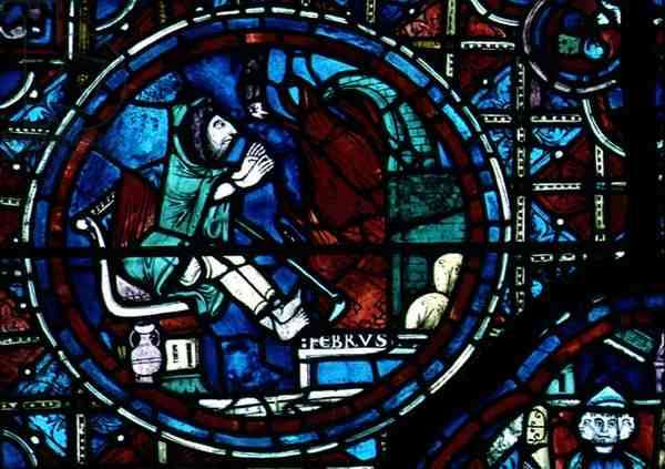 Pisces, from the zodiac window, 13th century (stained glass)