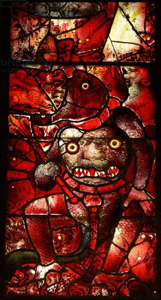 Window depicting Satan (stained glass)