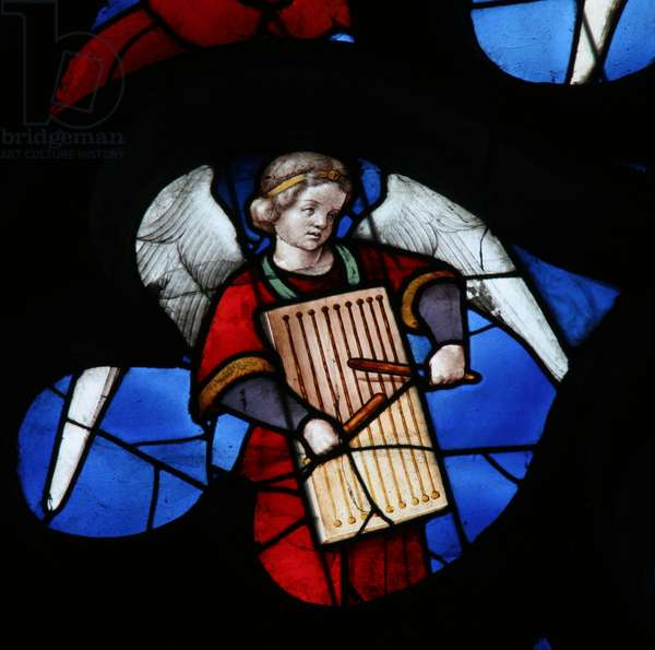 Window depicting a Musical Angel (stained glass)