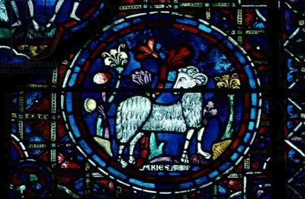 Aries, from the zodiac window, 13th century (stained glass)