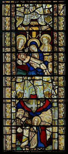 Window depicting Pieta and the Pentecost (stained glass)