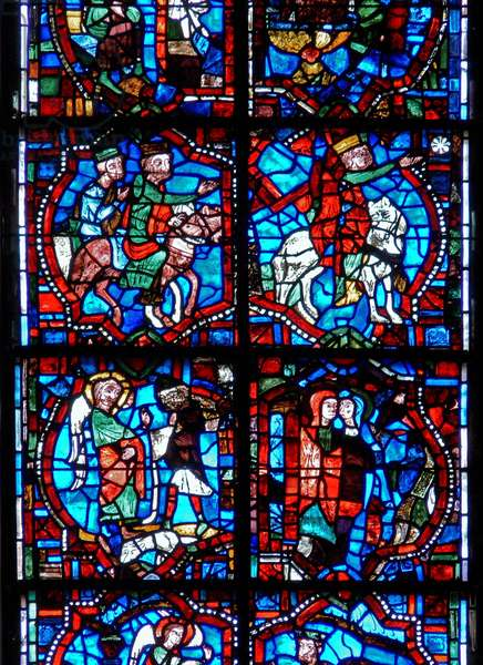 Window depicting scenes from the Childhood of Christ, including the Magi following the star, the Annunciation to the Shepherds and the Visitation (stained glass)