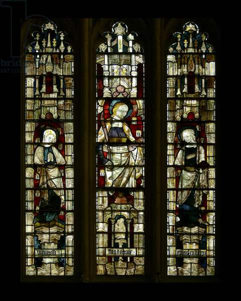 St. Mary and St. John with a composite female saint in the centre, late 14th century (stained glass)