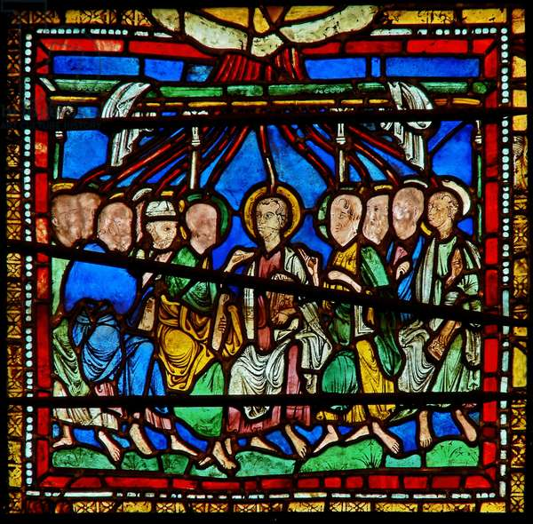 Detail from the east window of the Trinity Chapel depicting Pentecost (stained glass)