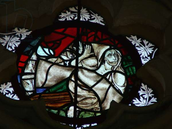 Window depicting a Soul rising at the Last Judgement (stained glass)