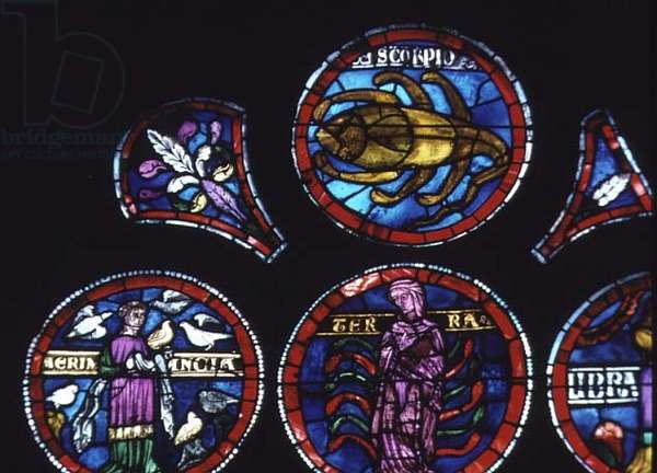 Zodiac sign Scorpio and Aermancy (prophecy by air or from birds), detail of rose window (with some 19th century restoration)