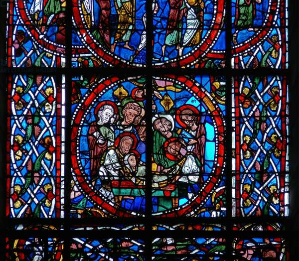 Detail from a window depicting the entombment, from the Death and Assumption of the Virgin Mary (stained glass)