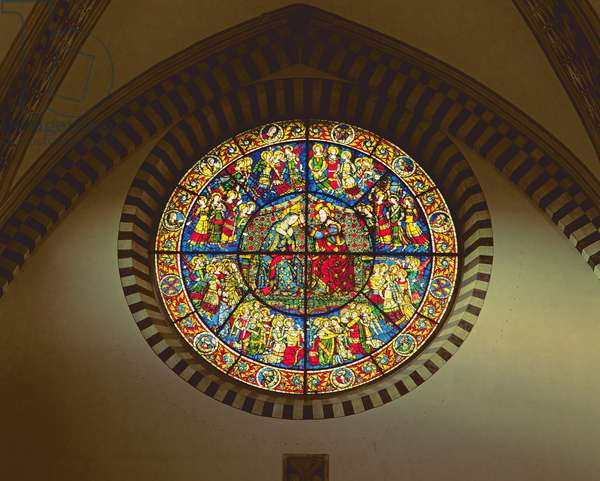 Rose window depicting the Coronation of the Virgin, 1365 (stained glass)