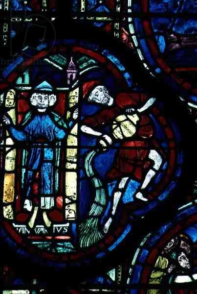 Aquarius, from the zodiac window, 13th century (stained glass)
