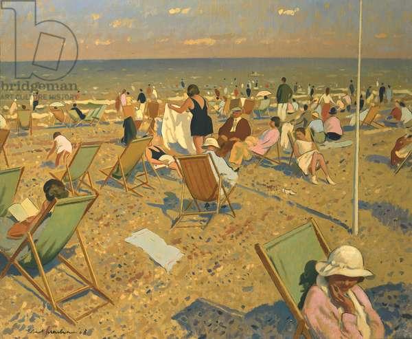 On the Beach, 1968 (oil on canvas)