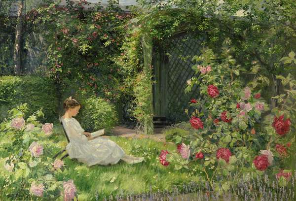 In the Rose Garden, 1921 (oil on canvas)