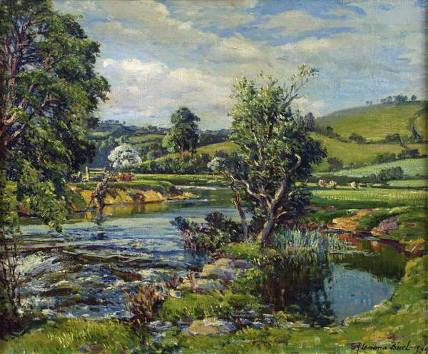 Fishing on the River, 1949 (oil on canvas)