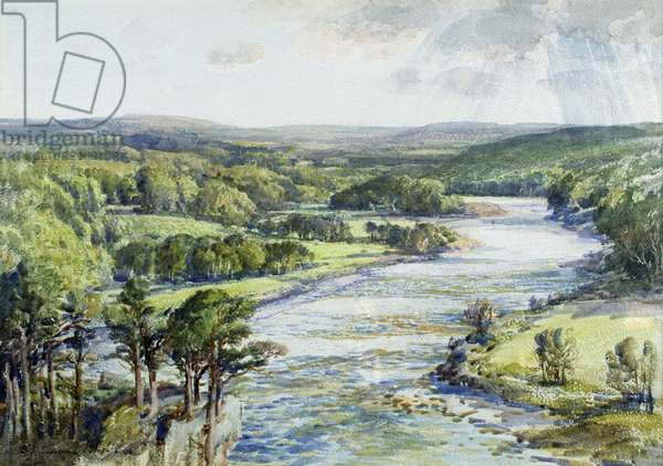 The Silver Spey near Pitlochrie (w/c on paper)