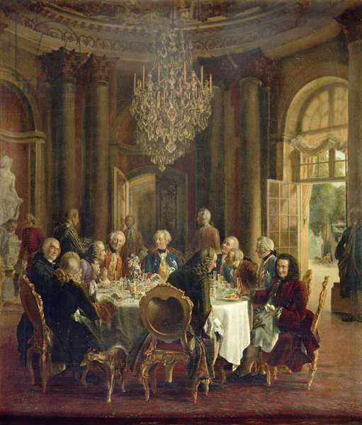 Dinner Table at Sanssouci, 1850 (oil on canvas)