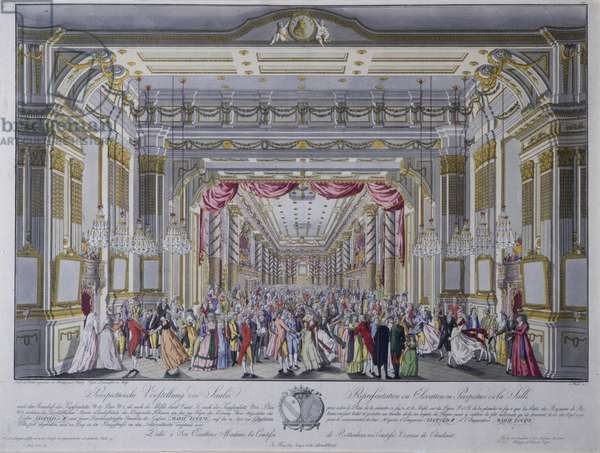 Ball following the coronation of Leopold II as king of Bohemia in Prague in 1791 (hand coloured engraving)
