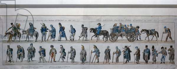 The return of the defeated French army from Russia in 1813 (hand coloured engraving)