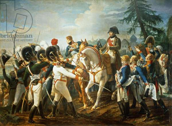 Napoleon and the Bavarian and Wurttemberg troops in Abensberg, 20th April 1809 (oil on canvas)