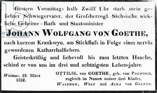 Johann Wolfgang von Goethe's Death Notice, 1832 (print)