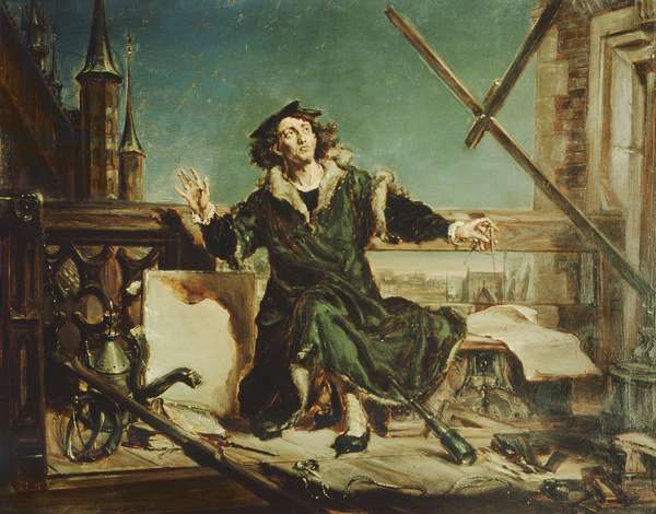 Copernicus in the tower at Frombork (oil on canvas)