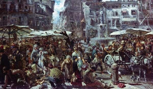 The Market of Verona, 1884 (oil on panel)