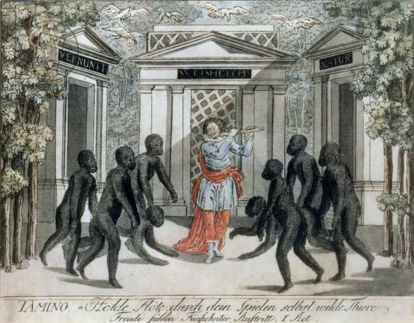Tamino plays the magic flute to ward off the wild beasts, Act I scene xv, from `The Magic Flute' by Wolfgang Amadeus Mozart (1756-91), c.1793 (coloured engraving)