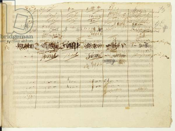 'Wellington's Victory, Op. 91', page 36, composed by Ludwig van Beethoven (1770-1827) (pen & ink on paper)
